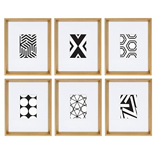 (Kate and Laurel Calter 6 Framed Modern Black and White Geometric Abstract Art Prints, Gold)