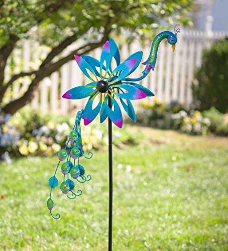 Plow & Hearth Metal Garden Wind Spinner - Colorful Peacock with Bobbling Head and Tail - Outdoor Decorative Yard Decor - 22.5 L x 6.75 W x 64 H by Plow & Hearth