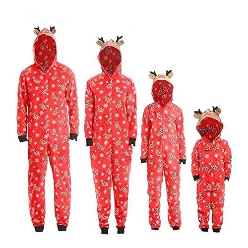 Jimmackey Pigiama Famiglia Indumenti da Notte Abiti Natalizi Tuta Elegante 2PC Uomo Donna Bambini T Shirt Babbo Natale Tops + Pantaloni Set Casa Padre