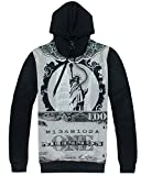 Unisex Simulation Printing Galaxy Pocket Hooded Sweatshirt(Gray Black,M)