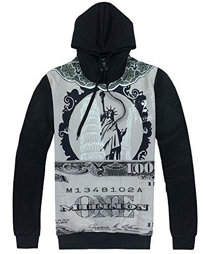 Unisex Simulation Printing Galaxy Pocket Hooded Sweatshirt(Gray Black,M) by Ancia