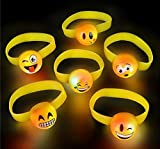 12 Bright Flashing Emoji Emoticon Buddy LIGHT UP LED BRACELETS by DISCOUNT PARTY AND NOVELTY TM
