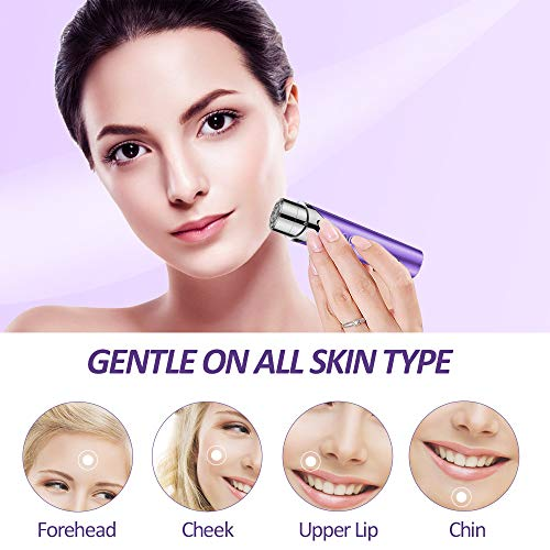 QQcute Facial Hair Removal for Women, Waterproof Facial Hair Remover Women's Painless Peach Fuzz Trimmer Shaver for Face Upper Lip Chin Cheeks - Purple