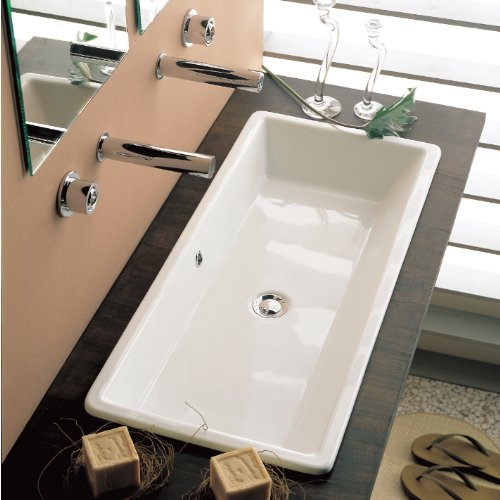 Scarabeo 8033-No Hole Gaia Rectangular Ceramic Self Rimming/Vessel Sink, White - Double Bathroom Sink