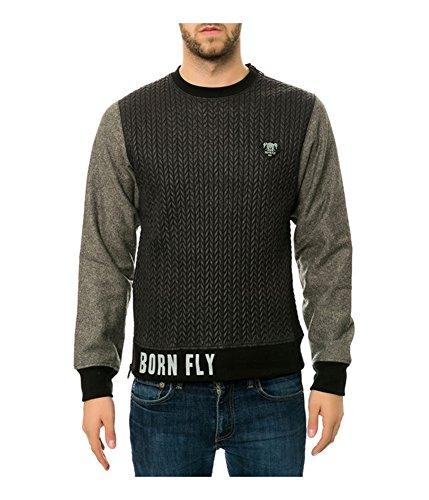 Born Fly Mens The Seven Crewneck Sweatshirt, Black, Medium (Born Fly Clothing)