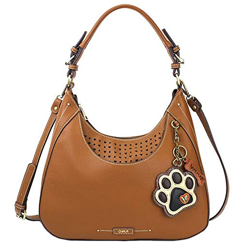 Chala Paw Print Ivory Sweet Hobo Tote Shoulder Bag, Dog Lovers Gift (Brown) ()