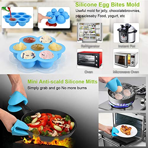 Accessories Set for Instant Pot-Fits 6,8Qt Pressure Cooker,12-Pcs with Steamer Basket/Egg Steamer Rack/Egg Bites Molds/Non-stick Springform Pan/Magnetic Cheat Sheets/Oven Mitts/Silicone Sponge by Will Well (Image #3)