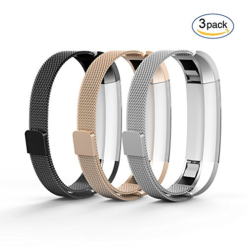 Tecson Fitbit Alta & Fitbit Alta HR Bands (3-Pack), Stainless Steel Milanese Loop Replacement Bracelet Strap with Magnet Lock for Fitbit Alta HR (Black & Champagne & Silver) Metal Sportswear