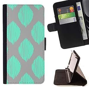 BullDog Case - FOR/Samsung Galaxy S6 EDGE / - / green grey teal pattern checkered leaf /- Monedero de cuero de la PU Llevar cubierta de la caja con el ID Credit Card Slots Flip funda de cuer