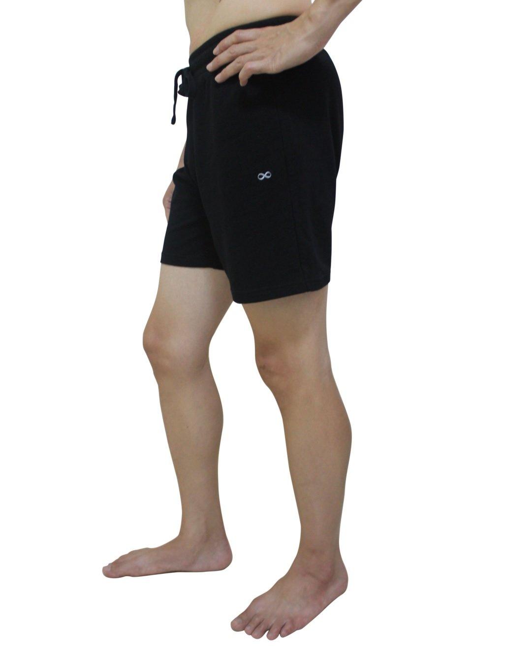 YogaAddict Yoga Shorts for Men, Quick Dry, No Pockets, for Any Yoga (Bikram, Hot Yoga, Hatha, Ashtanga), Pilates, Gym, Black with Inner Liner - Size M by YogaAddict
