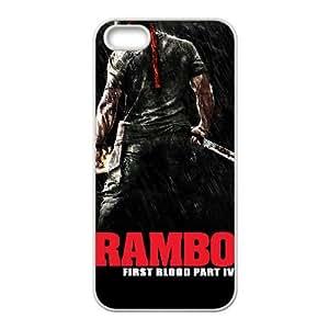 Alta resolución Rambo cartel iPhone 5 5S caja del teléfono celular funda blanca del teléfono celular Funda Cubierta EEECBCAAL76030