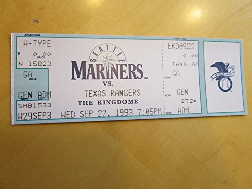 NOLAN RYAN Last Game Pitched 9/22/93 Full Baseball - Mini Bat Mariners Baseball