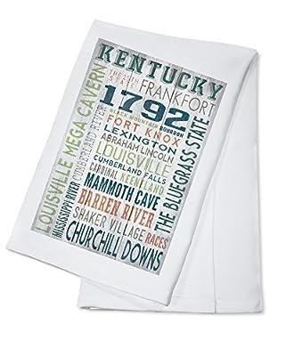 Kentucky - Barnwood Typography (100% Cotton Absorbent Kitchen Towel)