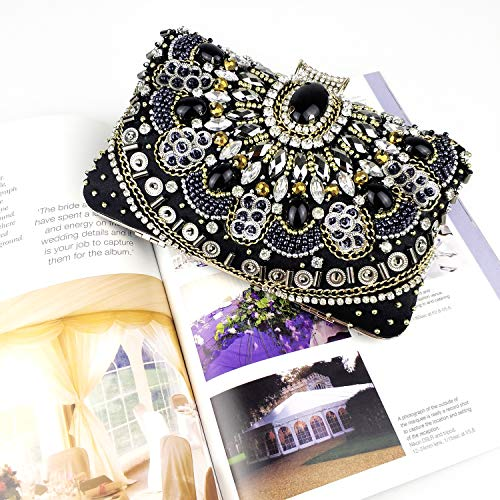 Womens Evening Bag/Clutch,Vintage Handmade Wedding Party Handbag/Purse/PartyBag, Packed in Gift Box(Black-Beaded) by zebrum (Image #4)