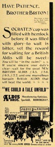 1918 Ad Aldis Bros. Opticians Camera Lens Birmingham UK - Original Print - Lenses Uk