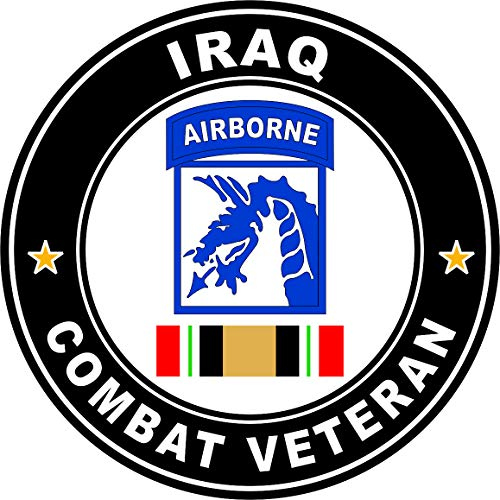 Military Vet Shop US Army 18th Airborne Corps Iraq Combat Veteran Ribbon Operation Iraqi Freedom OIF Window Bumper Sticker Decal 3.8