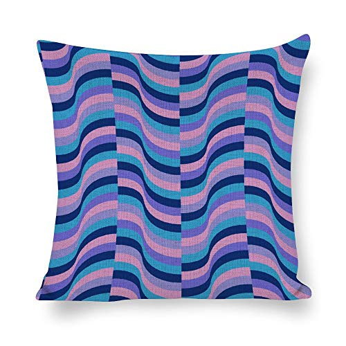 Welkoom Sofa Pillow Cases Cushion Cover Line Pattern Magenta Blue Pink Cotton Linen Decorative Cushion -