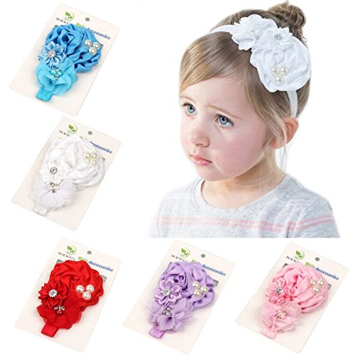 Roewell Baby-Girls Hair Bows With Crystal Flower,Baby Girl Headbands for Baby Shower (5 Pcs)