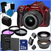 Pentax K30 Digital Camera with 18-55mm AL Lens Kit (Red) + 32GB SDHC Class 10 Memory Card + Memory Card Wallet + 3 Piece Filter Kit Accessory Saver Bundle!