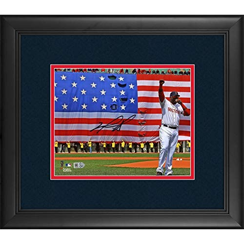 David Ortiz Boston Red Sox FAN Authentic Framed Autographed Signed 8x10 Boston Strong Speech Photograph - Certified Signature