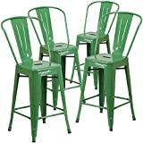 Green Stool 4 Pk. 24'' High Green Metal Indoor-Outdoor Counter Height Stool with Back