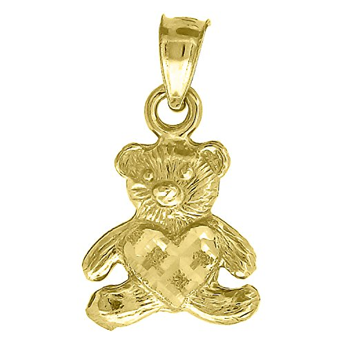 10kt Gold DC Baby Teddy Bear Ht:18.5mm x W:10.4mm Heart Charm Pendant 10kt Baby Box