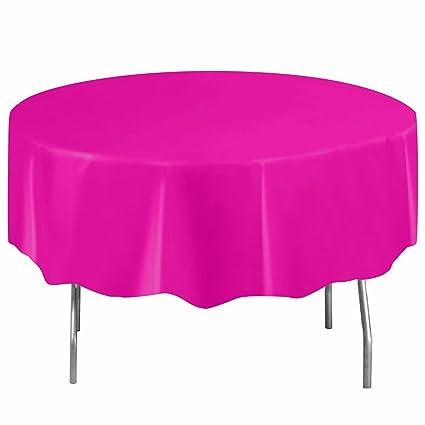 Superieur Round Neon Pink Plastic Tablecloth, 84u0026quot;