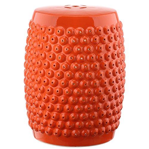 Safavieh ACS4530D Castle Gardens Collection Stella Nail Head Glazed Ceramic Garden Stool, Orange