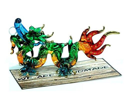 Handmade Lucky Dragon Art Glass Blown Fairy Tale Animal Figurine (Green, Red)