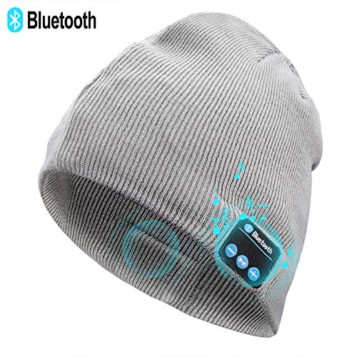 Unisex Knit Bluetooth Beanie Winter Music Hat Grey [Upgraded Newest V5.0] Knit Running Cap with Stereo Speakers & Mic Unique Christmas Tech Gifts for Women Mom Her Men Teens Boys Girls