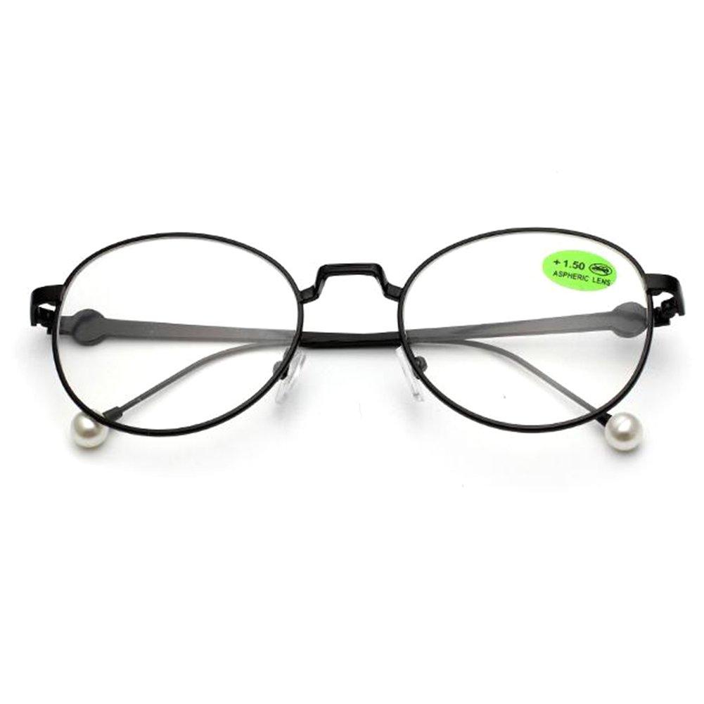 Inlefen Occhiali da lettura alla moda vintage Occhiali da vista oversize Occhiali da vista in metallo tondo grandi 1.0 1.5 2.0 2.5 3.0 3.5 4.0