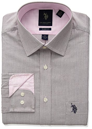 U.S. Polo Assn. Men's Slim Fit Striped Semi Spread Collar Dress Shirt