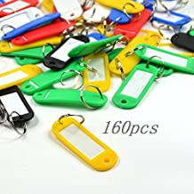 Good done Pack of 160 Assorted Color Coded Key Tag with Label Window Ring Holder (Soft plastic)
