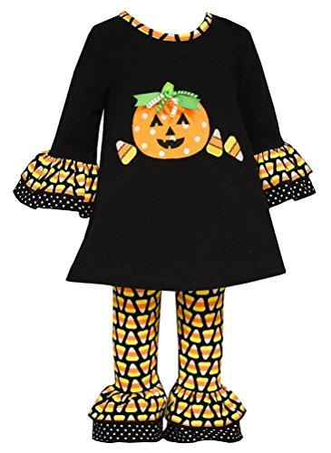 Bonnie Baby Girl Halloween Candy Corn Pumpkin Outfit (12 Months, Black)