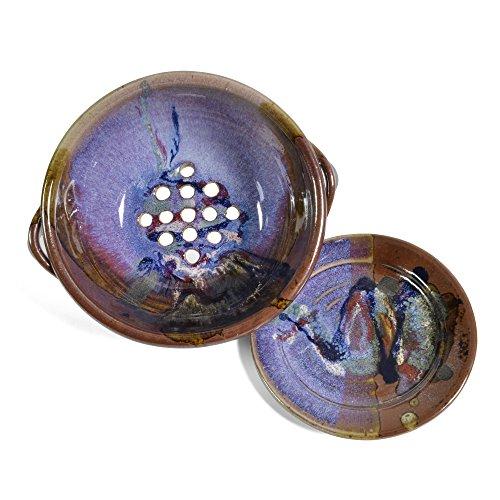 Larrabee Ceramics 2-Piece Berry Bowl Set, Burgundy/Multi