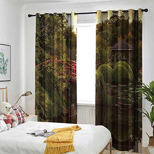 one1love Japanese Decor Window Curtains Peaceful Garden in Twilight with Reflections in The Water Red Bridge On Pond SunGreen Yellow Room Darkening Thermal 72