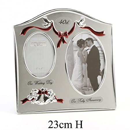 Wedding Bells Silver Plated Photo Frame, 40th Ruby Wedding Anniversary Gift