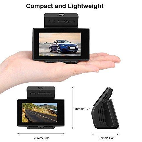 Dash Cam, PEMENOL Car Dashboard Camera 2.31'' LCD FHD 1080P 170 Degree Ultra Wide Angle Dual Lens Car DVR Video Recorder with GPS Night Vision G-Sensor Loop Recording (CC3158K)