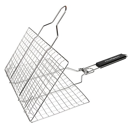 Fourheart Portable BBQ Grilling Basket with Long Handle, Stainless Steel Barbeque Grill Basket Family Outdoor BBQ Accessories Tool for Fish, Vegetable, Steak by Fourheart