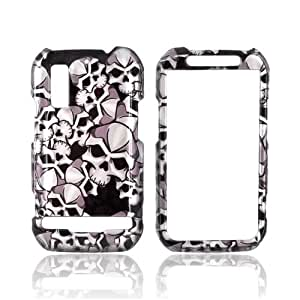 Silver Skulls on Black Hard Plastic Case For Motorola Photon 4G Electrify