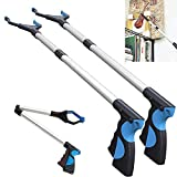 ENINE 2 Packs - Reacher Grabber Pick Up Tool, 32'' Foldable Extender Gripper Tool, Lightweight Long Duty Mobility Aid, Claw Trash Garbage Picker, Long Arm Reaching Claw (2 Pack Blue)