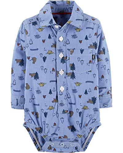 - OshKosh B'Gosh Baby Boys' Long Sleeve Button-Front Poplin Bodysuit (Blue/Camping, 9-12 Months)
