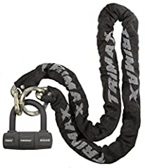 """Trimax THEX5060 The THEX5060 is a """"T-HEX"""" maximum security chain 5 feet in length with hardened 10 mm hexagon shaped links with a MAX60 disc U-lock. Hexagon shaped case hardened trip heat treated super chain. The MAX60 is a short shackle moto..."""