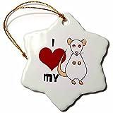 3dRose Love My Rat White Snowflake Porcelain Ornament, 3-Inch