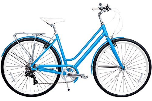 Gama Bikes Metropole Women 28-Inch Step Thru 8 Speed Shimano Hybrid Urban Commuter Road Bicycle, 19-Inch, Cyan (Bike 26' Cruiser Wheels)