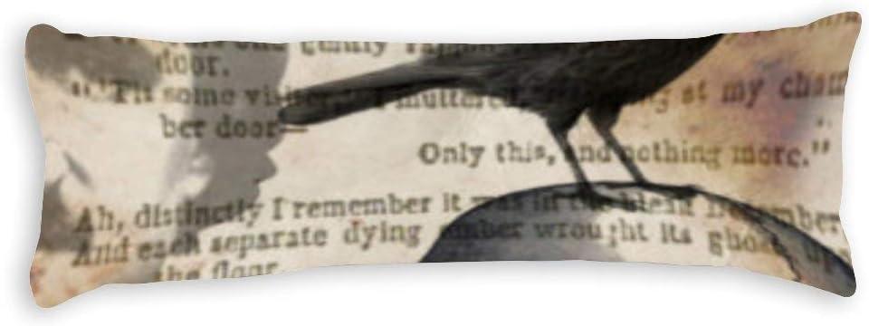 Body Pillowcase, Edgar Allan Poe The Raven Skull Extra Long Body Pillow Covers Cases 20''×54'' with Zipper Closure,Bedding Bedroom Decor Home Gift