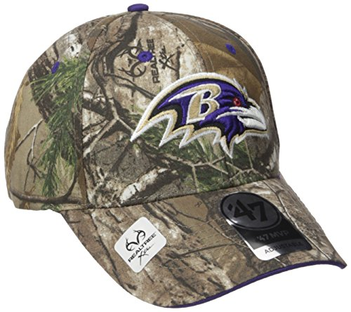 ('47 NFL Baltimore Ravens Frost MVP Camo Adjustable Hat, One Size Fits Most, Realtree Camouflage)