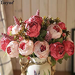 GSD2FF 13 Branch/Bouquet Artificial Flowers Peony Vivid Fake Silk Rose Bridal Wedding Decor Wreath Gland Home 45