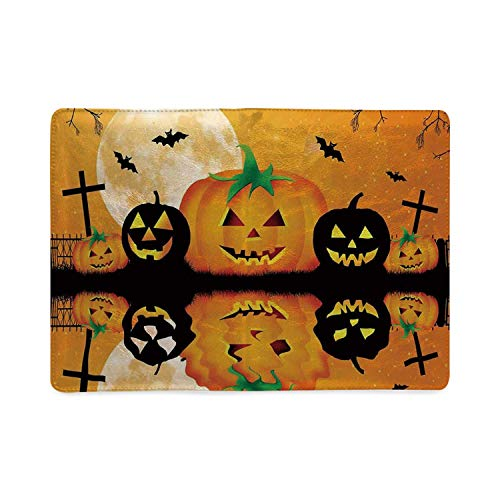 Halloween Decorations Fresh Notebook,Spooky Carved Halloween Pumpkin Full Moon with Bats and Grave Lake for Office,8.26''W x 10.86'''H (A Carved Keeping Fresh Pumpkin)