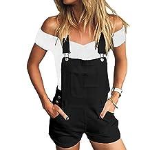 Ninimour Women's Juniors Cute Basic Denim Overall Shorts